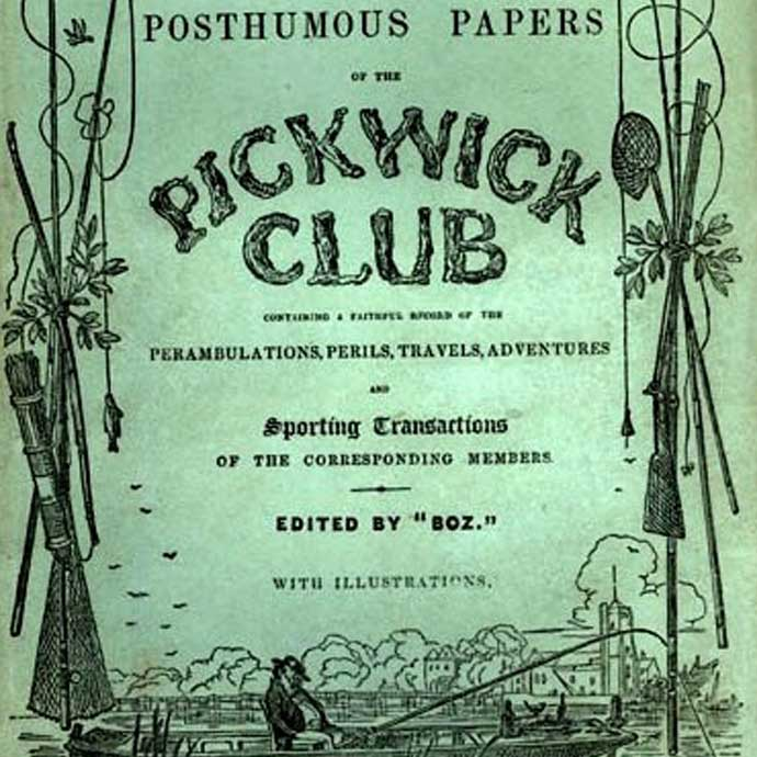 "Originele uitgave van ""The Pickwick Papers"" door Charles Dickens, 1836. © Chapman and Hall (NYPL Berg Collectie) [Publiek domein], via Wikimedia Commons."