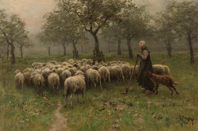 herfst-anton-mauve-herderin-kudde-schapen-boomgaard