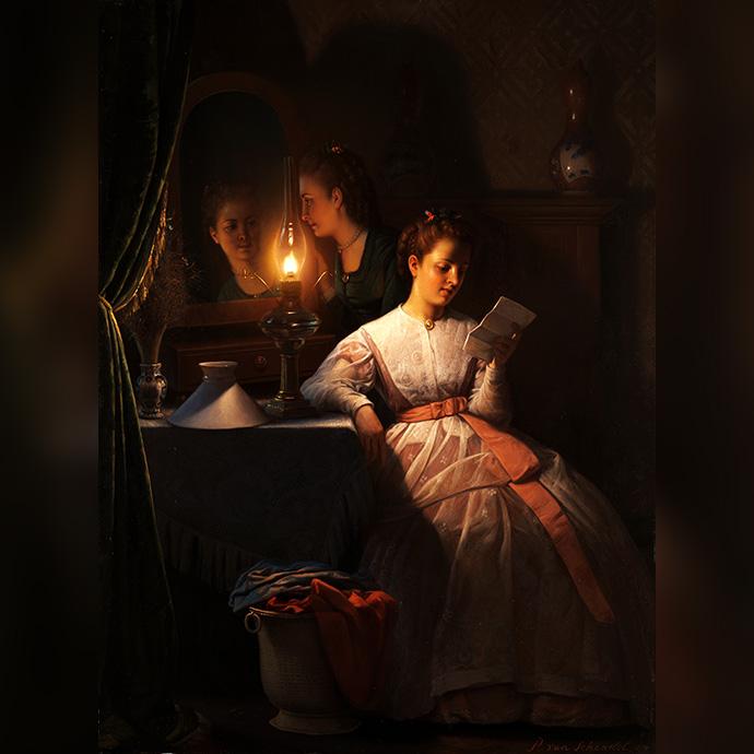 victoriaans-lezen-bij-lamplicht