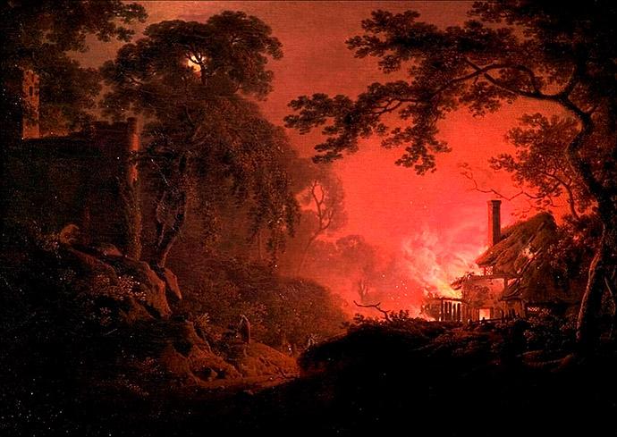 joseph-wright-of-derby-brandend-huisje-1793