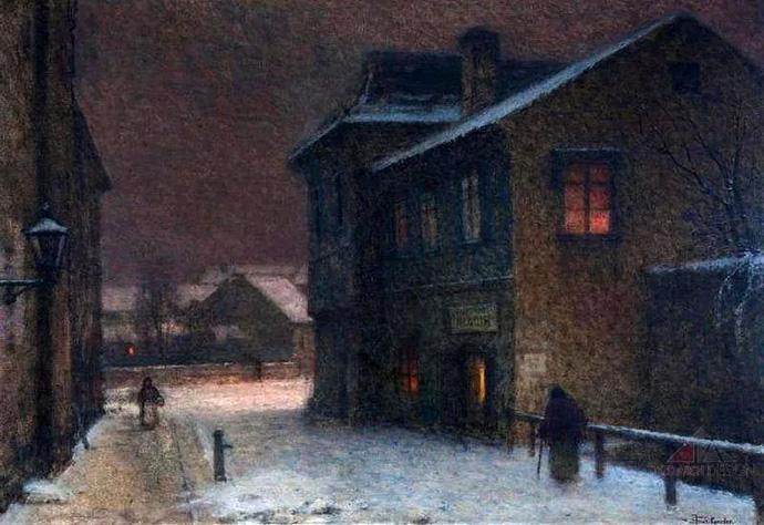 winter-19e-eeuw-jakob-schikaneder-straat-sneeuw