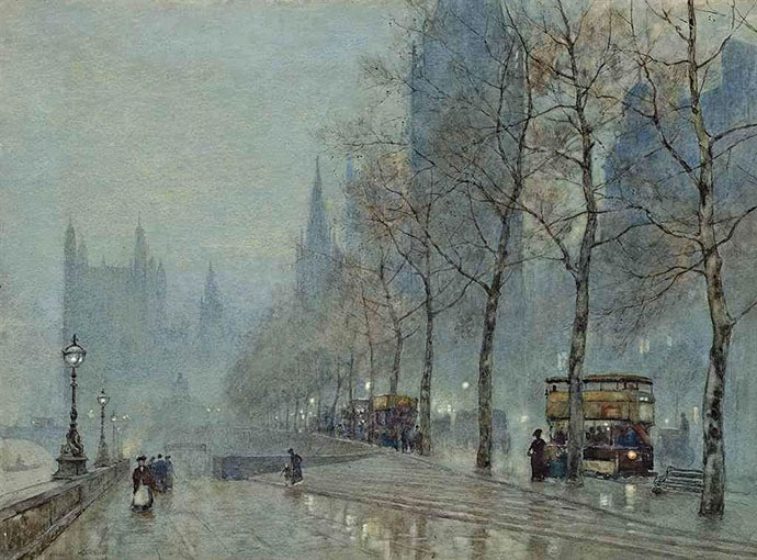 winter-19e-eeuw-marshall-winters-evening-embankment-parliament