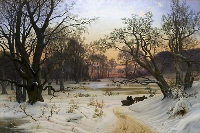 winter-19e-eeuw-winter-evening-forest-kyhn