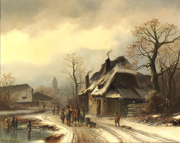 winter-19e-eeuw-winterliche-dorfansicht-anton-doll