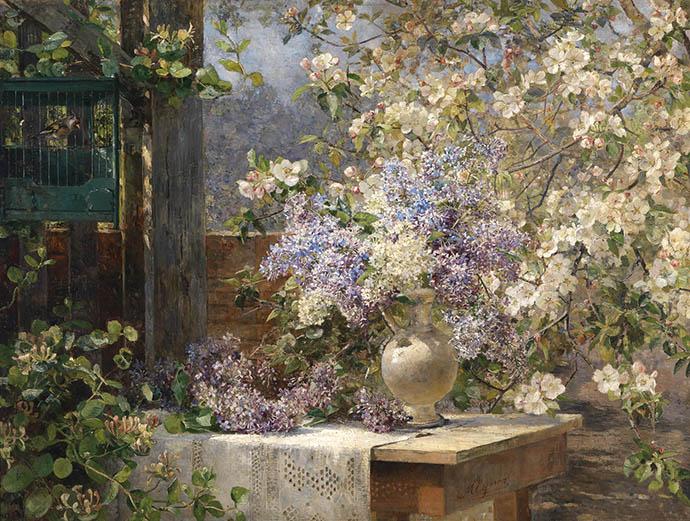 Schilderij met bloesem takken door Marie Egner