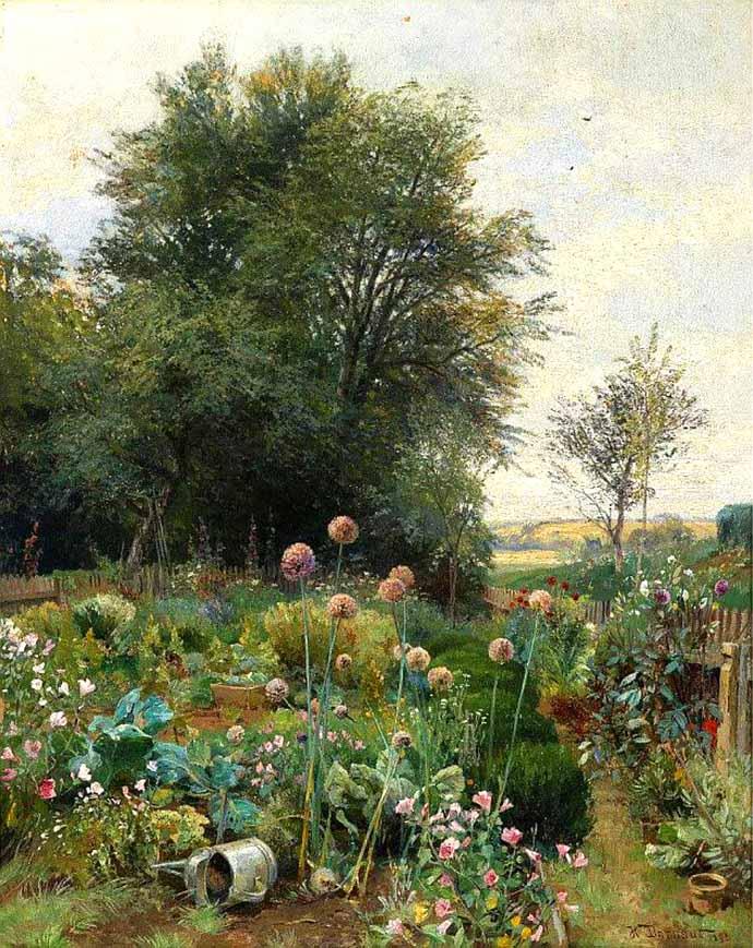 Schilderij met tuintje in Neder-Oostenrijk door Hugo Damaut (1895)