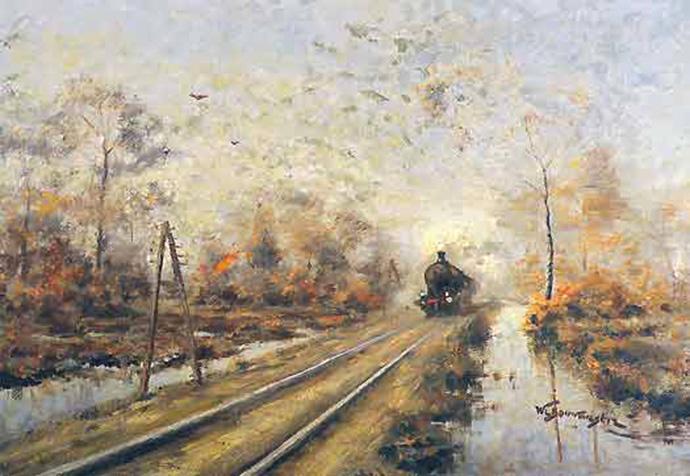 Schilderij-van-een-stoomtrein-door-Willem-Laurens-Bouwmeester-1874-1939