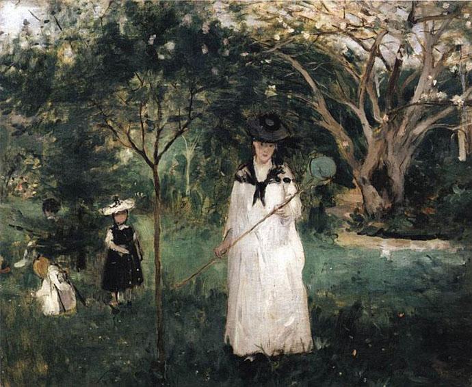 Vlinders vangen schilderij door Berthe Morisot (1874)