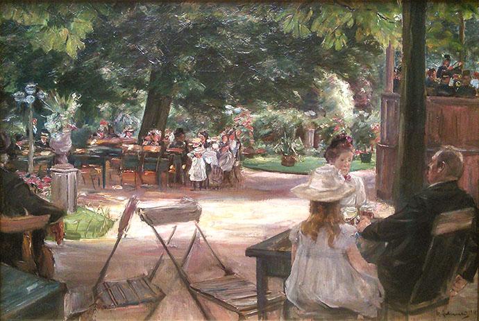 schilderij Max Liebermann op het terras in leiden 1900