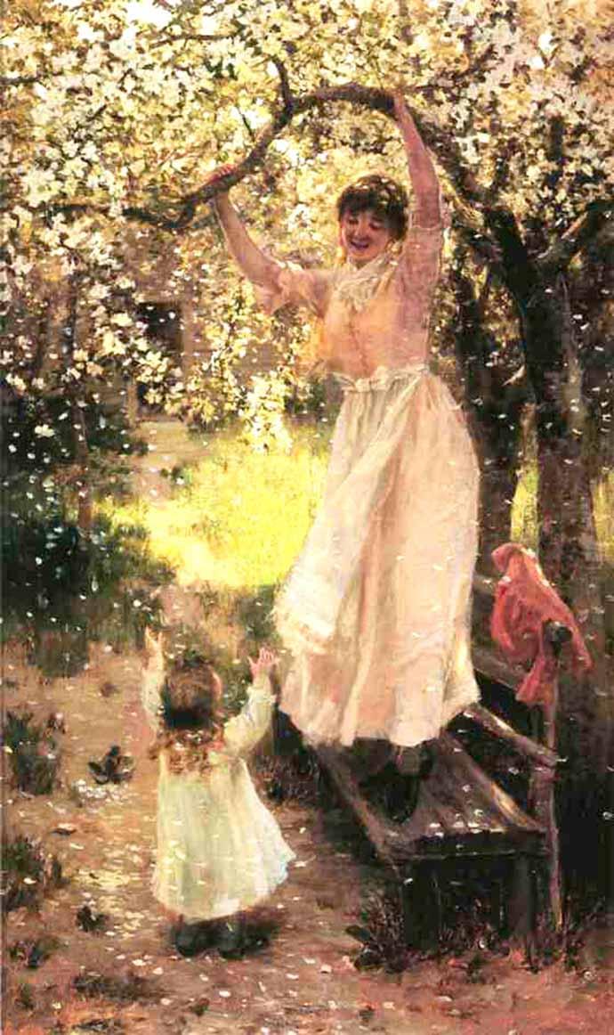 schilderij met bloesemboom lente