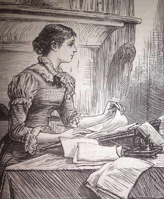 victoriaanse-vrouw-schrijvende-dame
