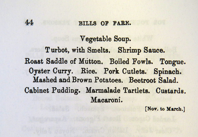 Bill of Fare Catherine Dickens Marmalade Tartlettes