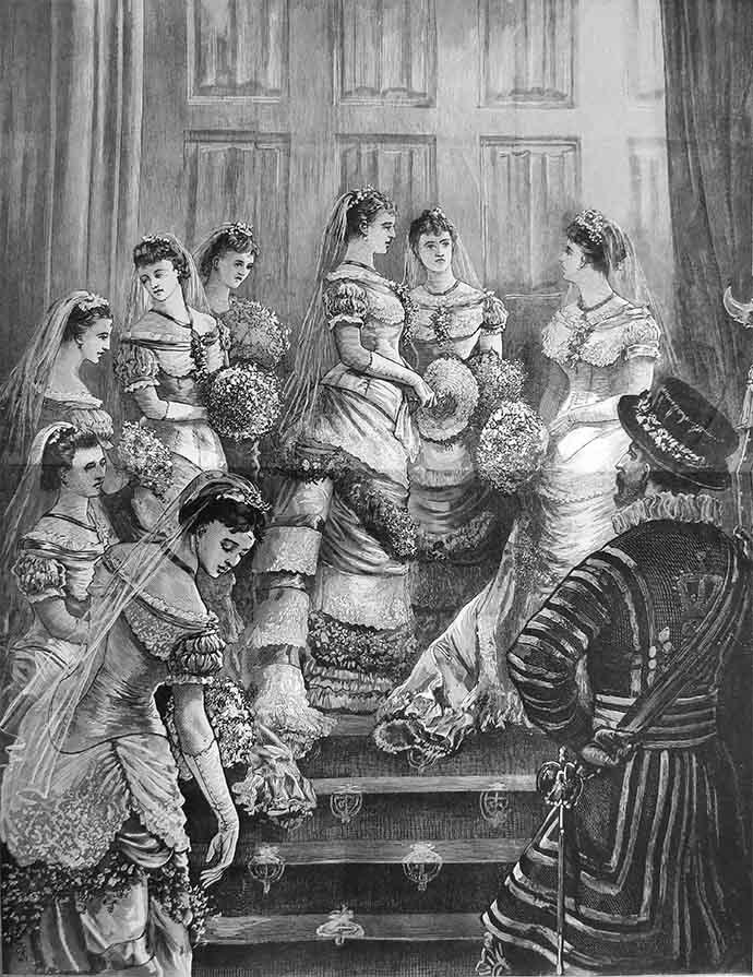 Bruidsmeisjes bij de koninklijke bruiloft van Prince Arthur