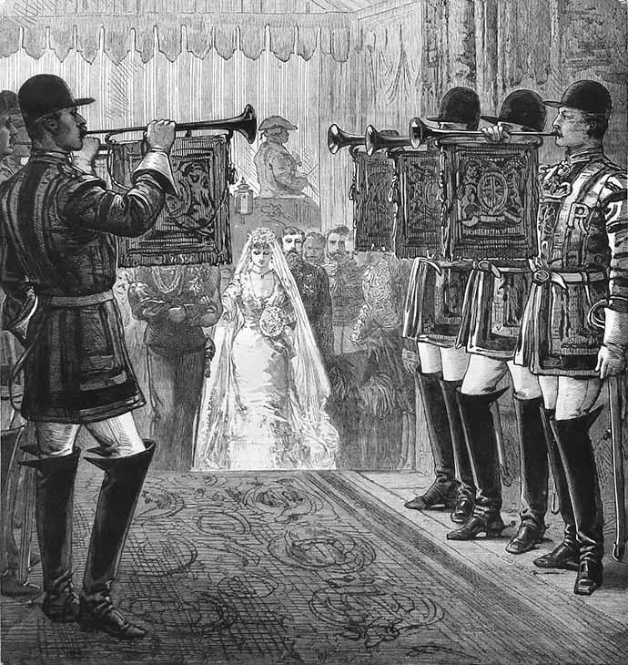 Ceremonie bij de trouwerij van Prins Arthur van Engeland