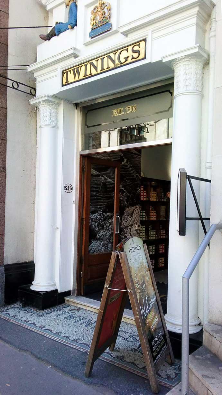 Ingang Twinings shop in Londen