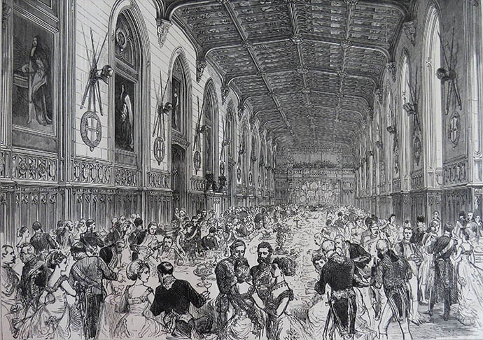 Lunch in St Georges Hall in Windsor ter ere van het huwelijk