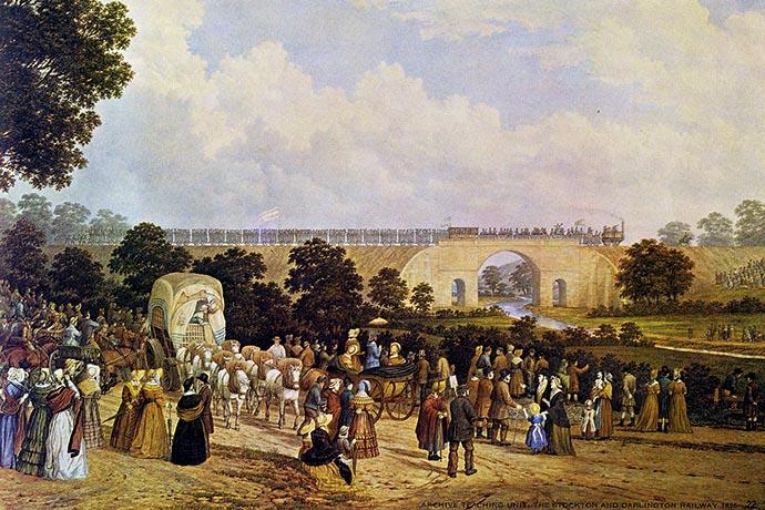 opening van spoor tussen Stockton en Darlington