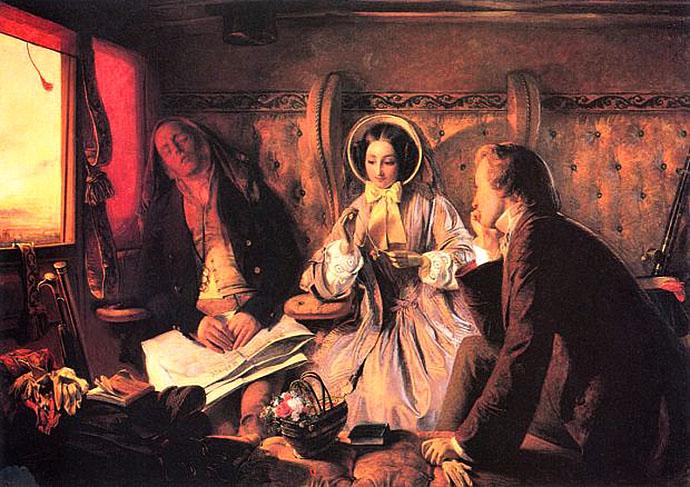schilderij ontmoeting in de eerste klasse door Abraham Solomon in 1855