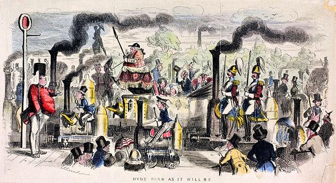 victoriaanse stoomtrein satire