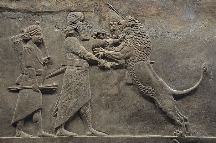 Assurbanipal jaagt op leeuwen
