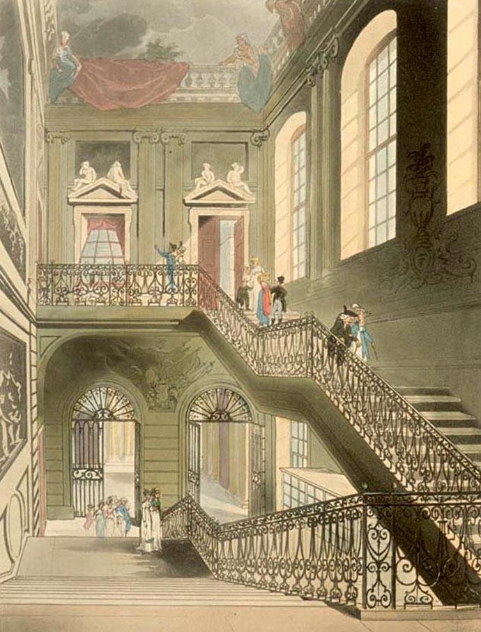 De entree en trappen van Montagu House, het oude British Museum in 1808
