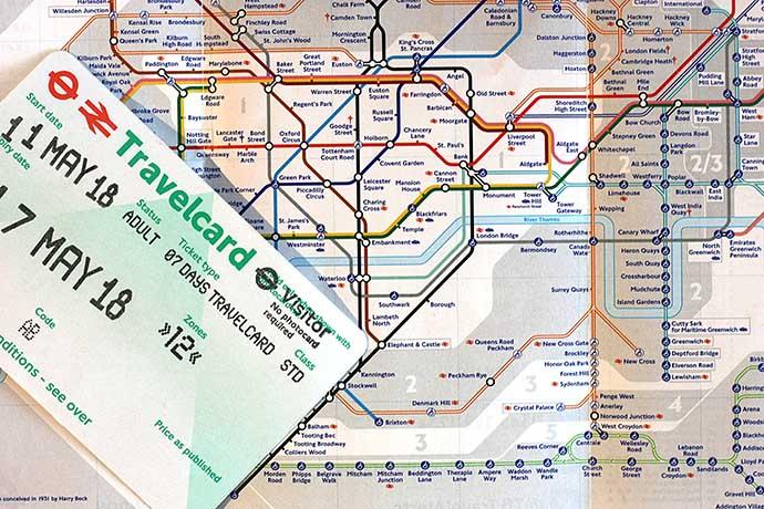 Londen Underground metrokaart en travelcard