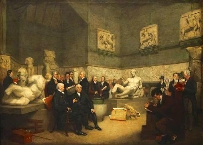 Tijdelijke Elginzaal in het Museum in 1819