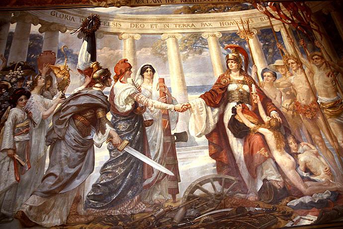 Verbeelding van de Volkerenbond, wandschildering door Goetze in het Foreign Office
