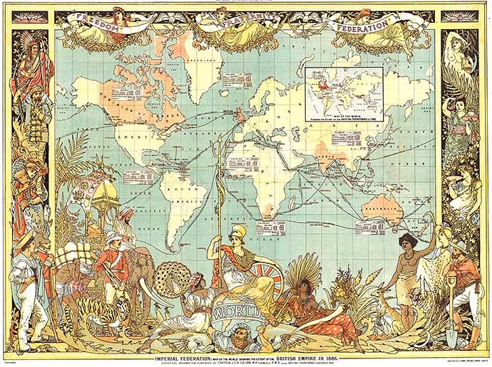 Wereldkaart van de Imperial Federation van het Britse Rijk in 1886