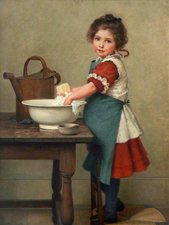 Schilderij van jong meisje in het huishouden
