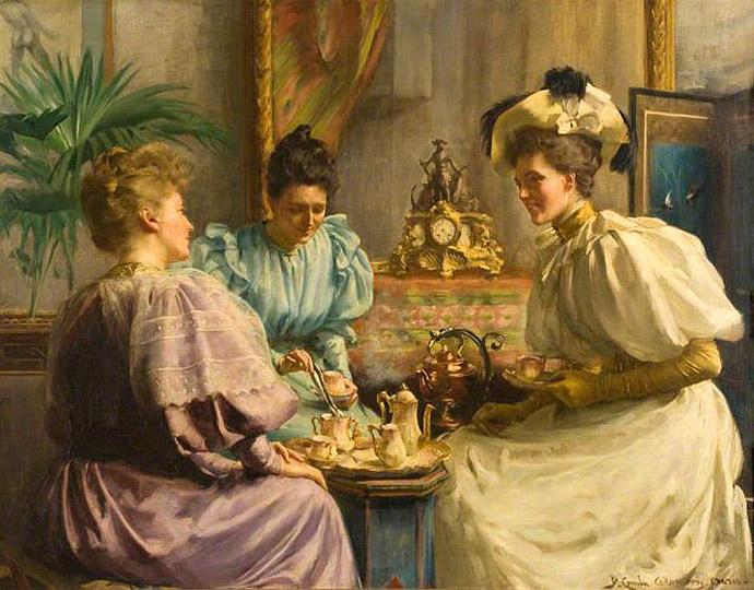 victoriaanse dames drinken thee