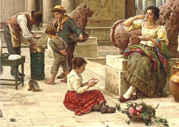Antonio Ermolao Paoletti (Venice 1834-1912) A Venetian ice cream seller