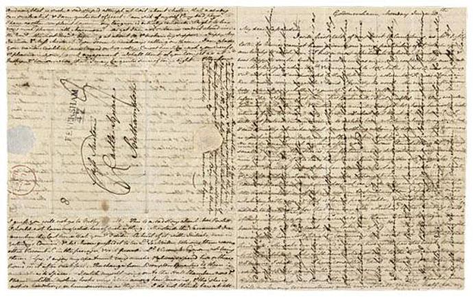 Jane Austen Letter cross written