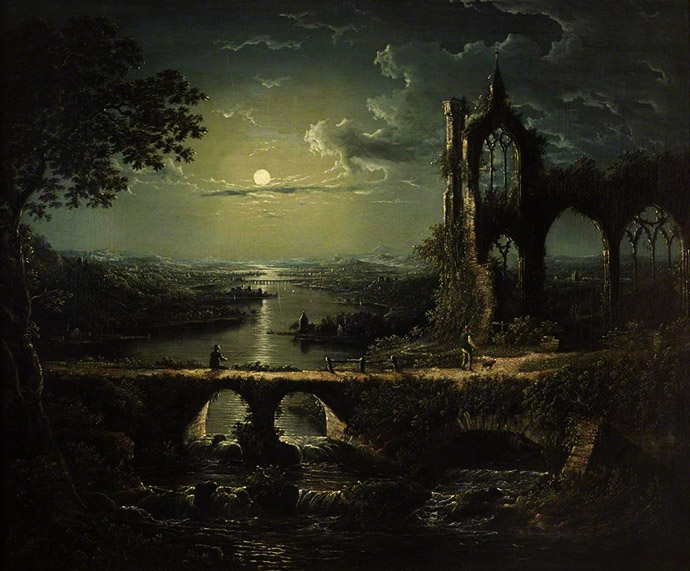 william pether Moonlit River Scene with a Ruined Gothic Church
