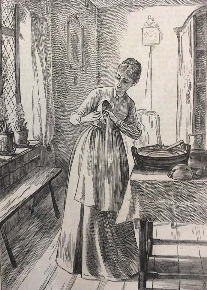 victoriaanse vrouw keuken