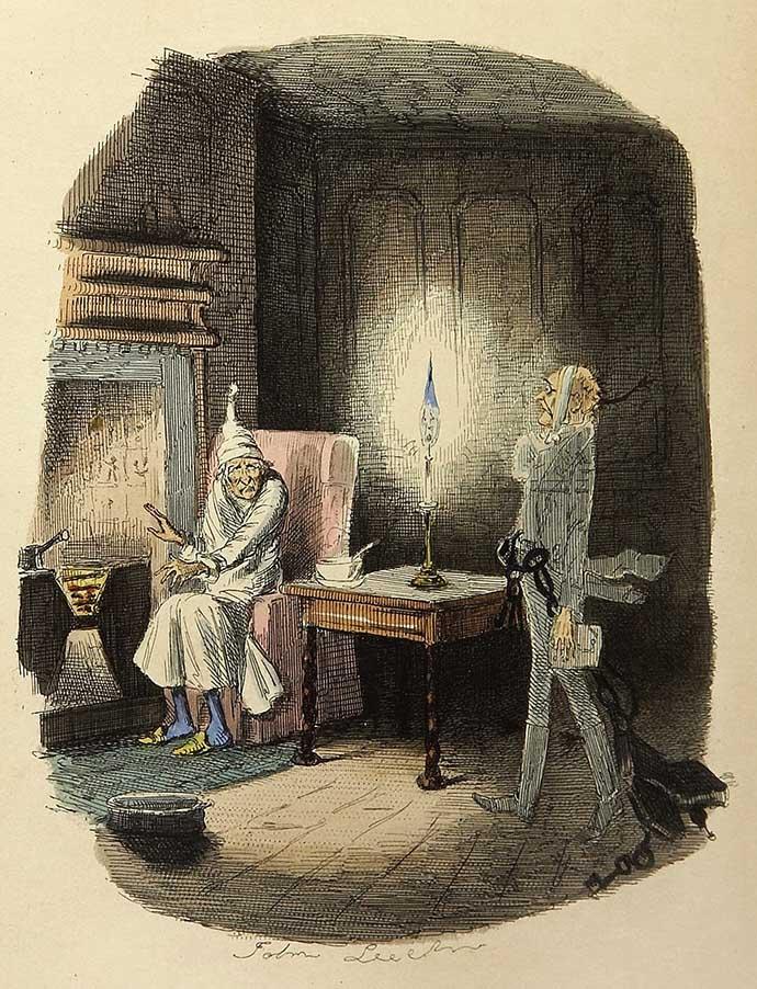 Dickens Christmas Carol Marley Ghost door John Leech 1843