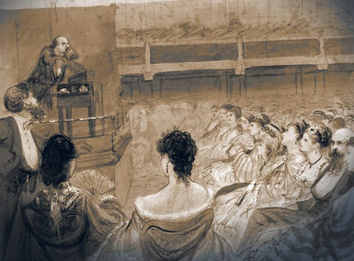 Dickens leest Sykes en Nancy 1870 coloured