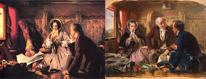 First Class The Meeting And at First Meeting Loved door Abraham Solomon 1854 (both versions)