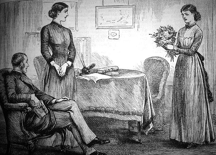 victoriaanse vrouw met bloemen