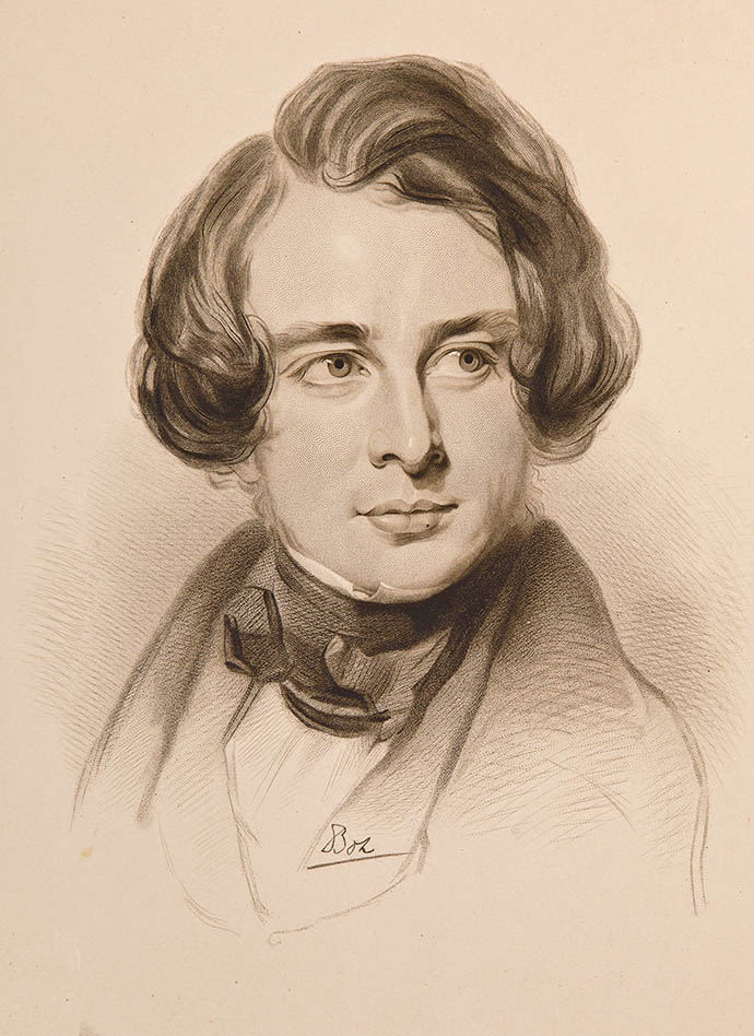 Portretschets van Charles Dickens in 1842