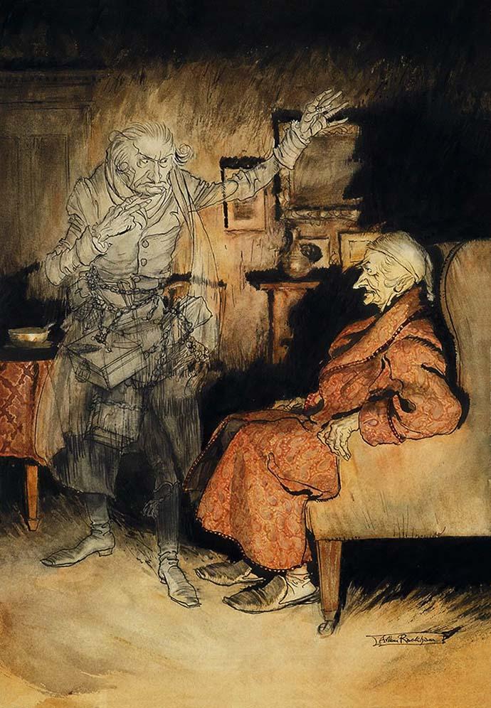 Scrooge and the Ghost of Marley door Arthur Rackham