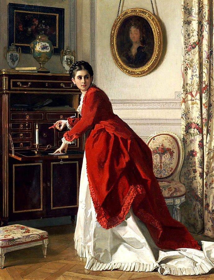 The Letter door Charles Baugniet 1870