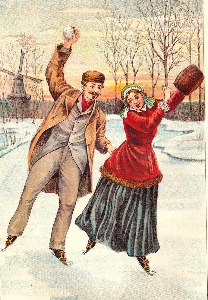 19e eeuwse prent schaatsen op het ijs