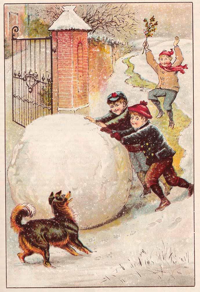 Oude prent sneeuwpop maken