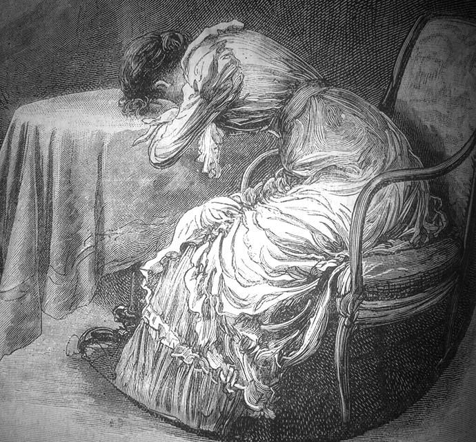 verdrietige victoriaanse vrouw