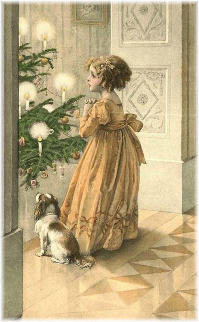 oude kerstkaart victoriaans of edwardiaans