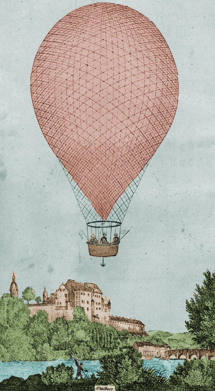 Ballon-Charles-Green-1836-Duitsland-ingekleurd