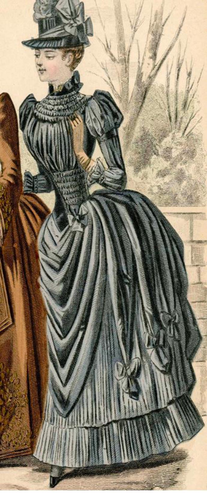 damesjapon blauw 1887 tournure bustle strikken lang