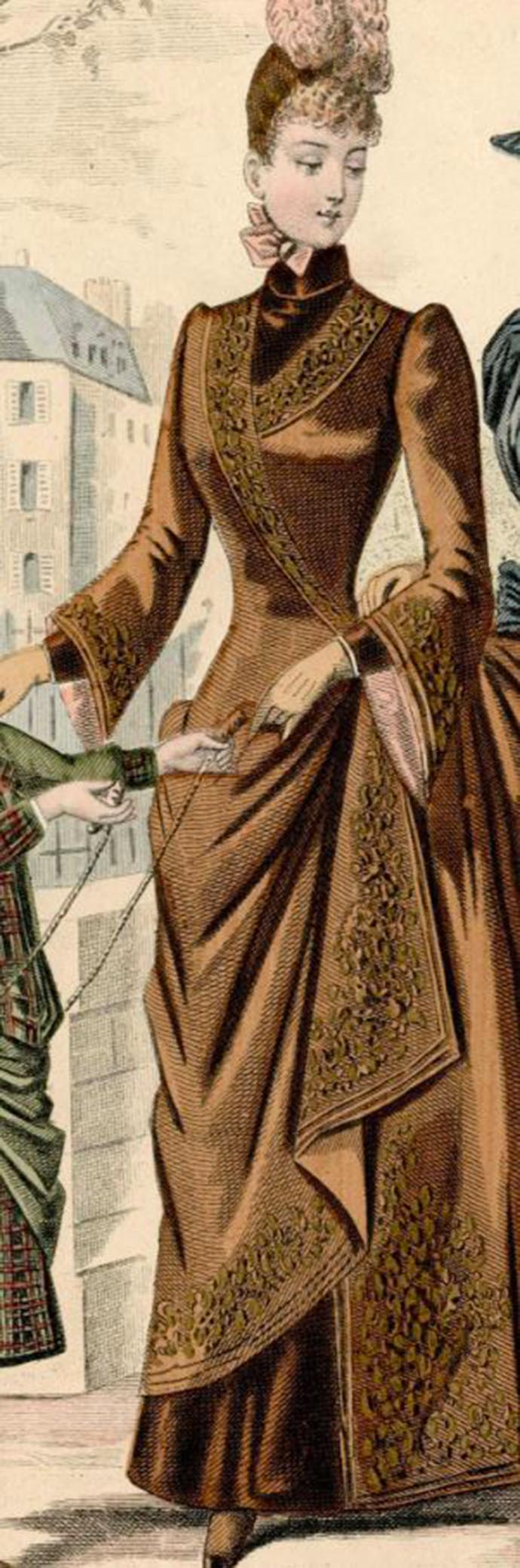 damesjapon bruin revers bustle tournure 1887 lang