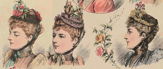 victoriaanse hoeden met bloemen 1892 toques